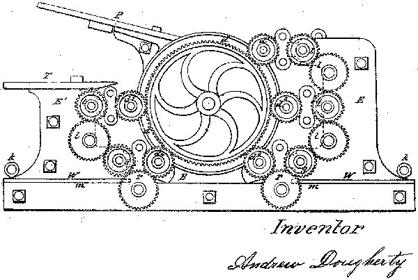 Colour printing press patent by A. Dougherty, 1859
