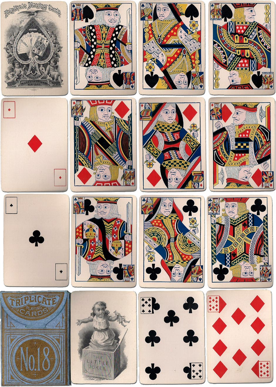 'Triplicate No.18' playing cards by Andrew Dougherty, c.1878