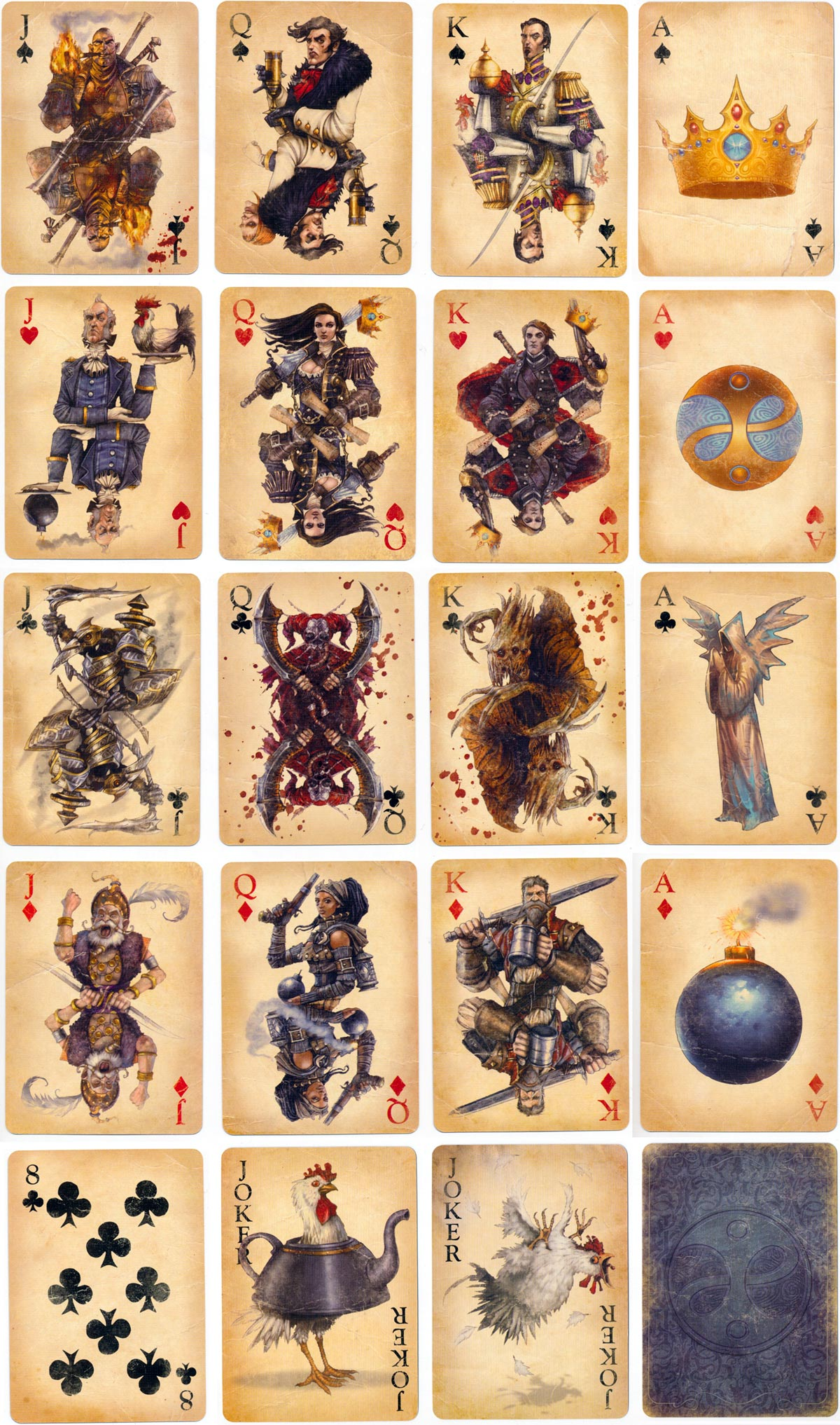 """Fable III"" playing cards created by Lionhead Studios depicting characters in the video game published by Microsoft in 2010"