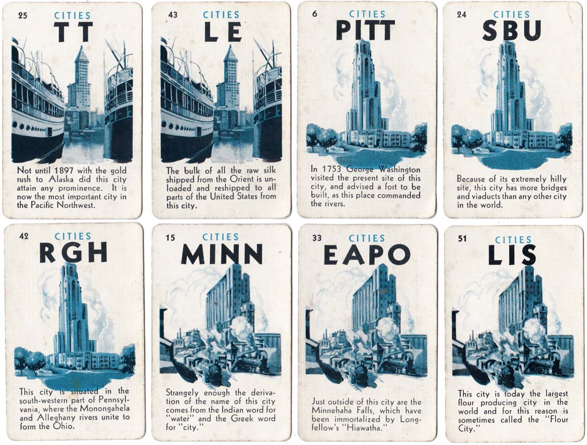 Game of Cities card game published by Fairchild Co, 1932