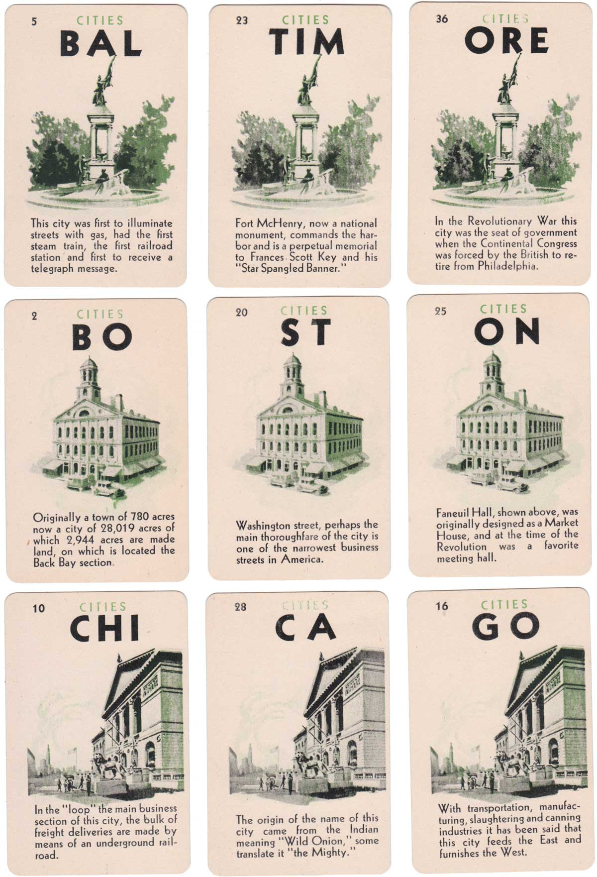 Game of Cities card game published by Fairchild Co, 1945