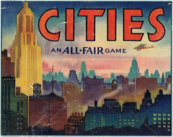 Game of Cities card game published by E. E. Fairchild Corporation under their 'All-Fair' brand, 1932