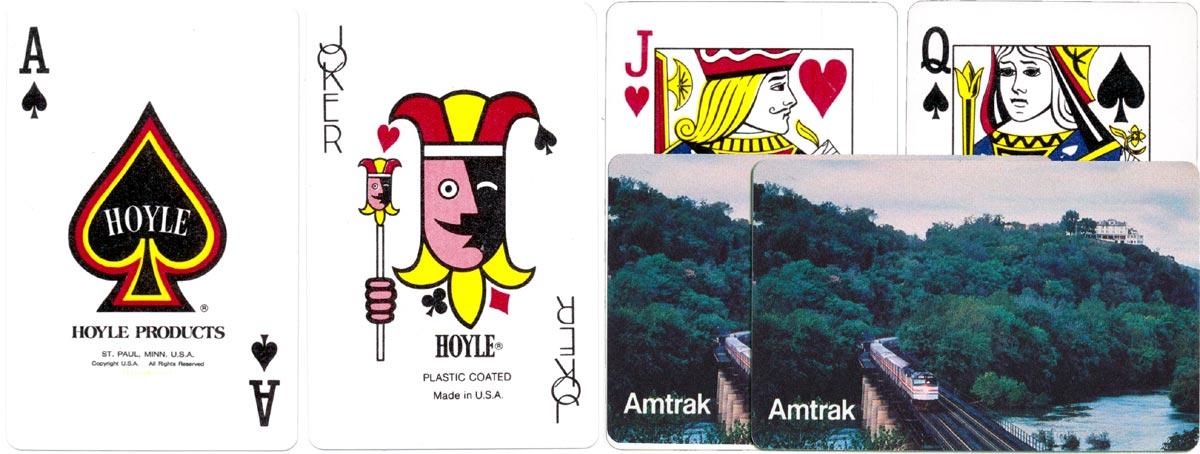 advertising deck for Amtrak manufactured by Hoyle Products, St Paul, Minnesota, USA, c.1977