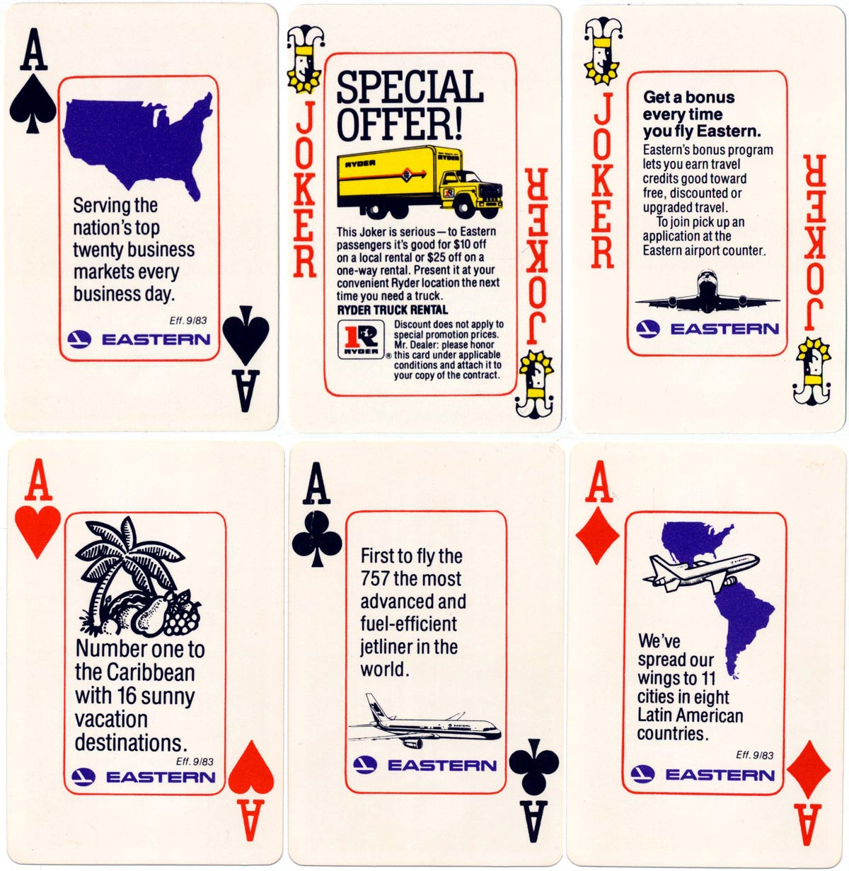 Dual advertising deck for Eastern Airlines and Ryder Trucks, produced by Hoyle, 1983