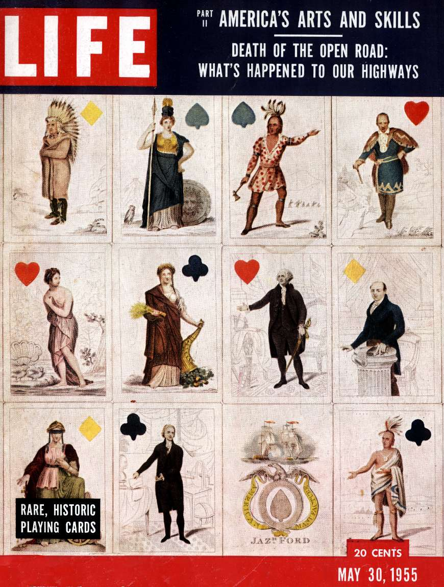 front cover of Life Magazine, May 30, 1955, featuring Historic Playing Cards commemorating early U.S. events and heroes
