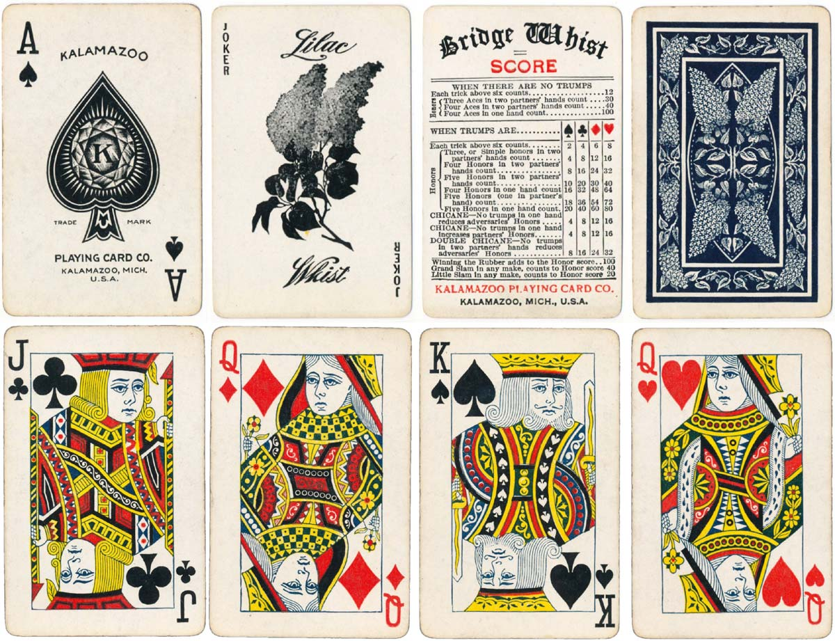"""Lilac Whist"" playing cards manufactured by the Kalamazoo Playing Card Co., c.1906"
