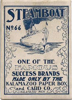 Steamboats #66 playing cards box, Kalamazoo Paper Box & Card Co., c.1903