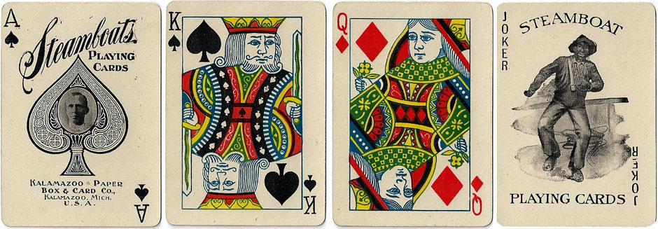 Steamboats #66 playing cards, Kalamazoo Paper Box & Card Co., c.1903