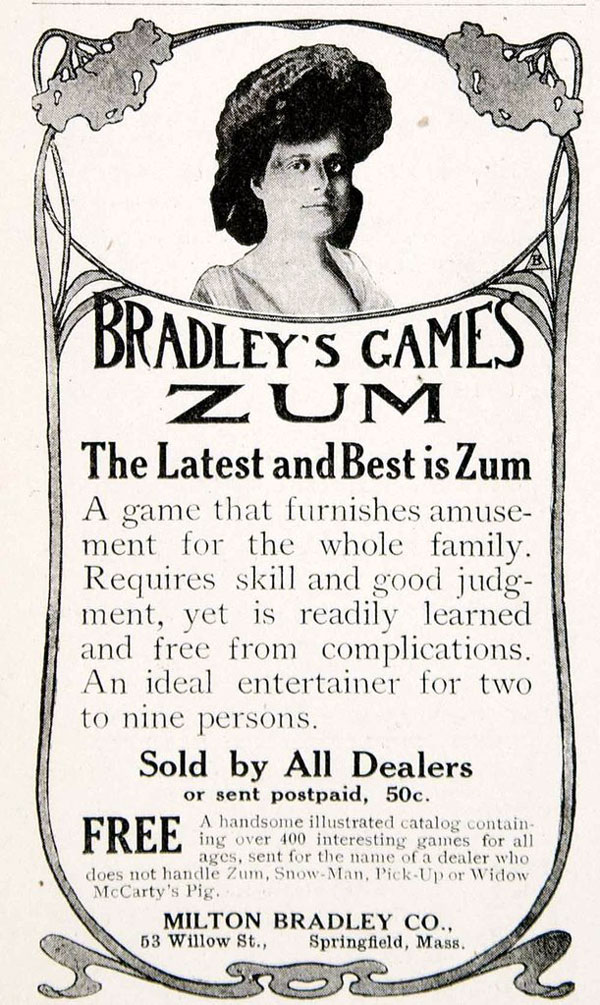 Zum card game published by Milton Bradley Co., c.1905