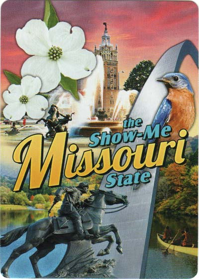Missouri Souvenir playing cards designed by OnPoint Speciality products in the USA, 2017