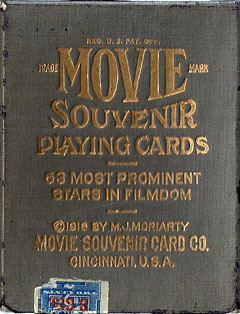 box from 'Movie Souvenir' playing cards published by the Movie Souvenir Card Co., Cincinnati, USA, 1916