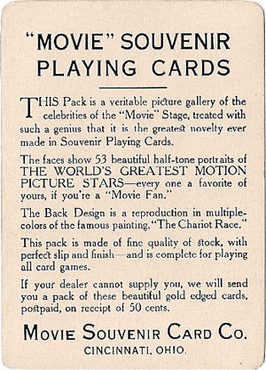 Movie Souvenir playing cards published by the Movie Souvenir Card Co., Cincinnati, USA, 1916