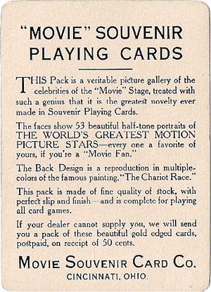 Movie Souvenir playing cards published by the Movie Souvenir Card Co., Cincinnati, USA, 1916