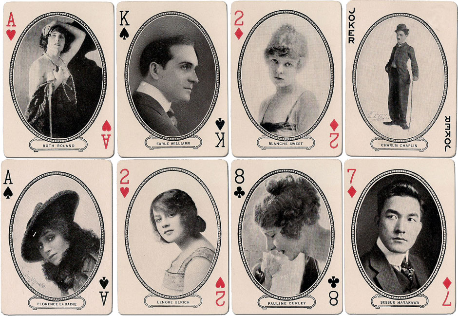 'Movie Souvenir' playing cards published by the Movie Souvenir Card Co., Cincinnati, USA, 1916