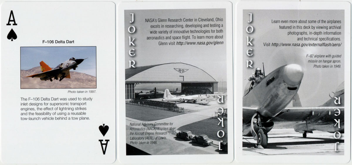 NASA Aircraft playing cards, c.2010
