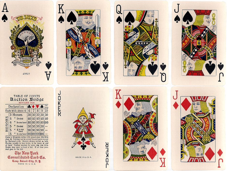 De Luxe Bridge size cards, New York Consolidated Card Co., c.1926, with a colourful Ace of Spades
