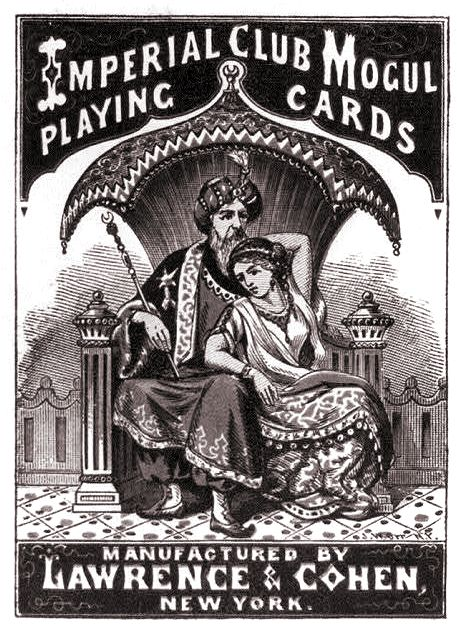 Lawrence & Cohen advert for Imperial Club Mogul Playing Cards with near East imagery, c.1868