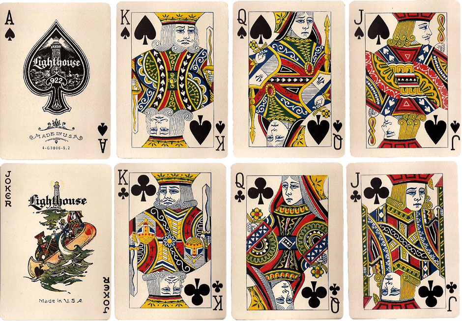 """""""Lighthouse No.922"""" playing cards by New York Consolidated Card Co., c.1925"""
