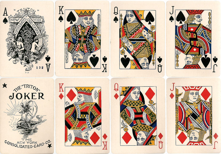 """Triton No.42"" brand playing cards with the ""Triton"" Joker, c.1895"