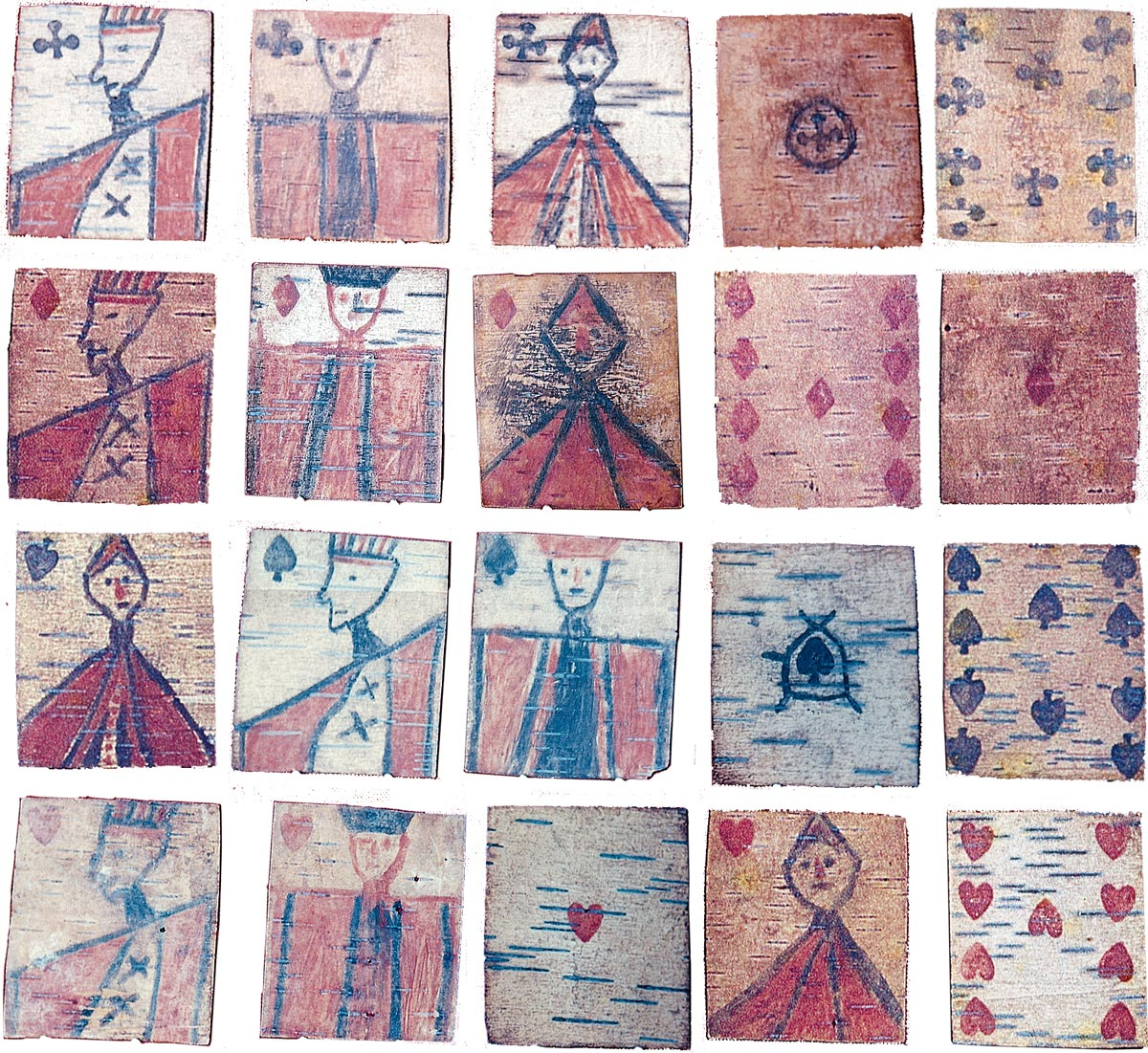 Ojibwa Native Indian playing cards hand manufactured on birch bark in imitation of standard French / English cards, c.1875