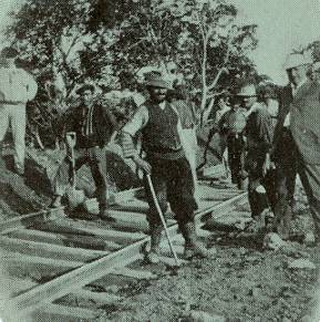 detail from Panama Canal souvenir card showing Spanish and Italian workmen, 1908
