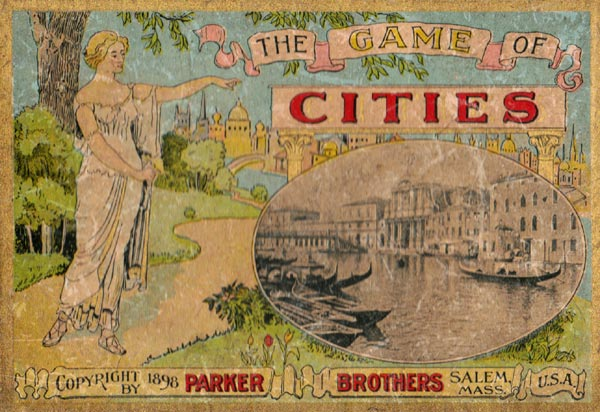 The Game of Cities published by Parker Brothers, Salem, Massachusetts, USA, c.1898
