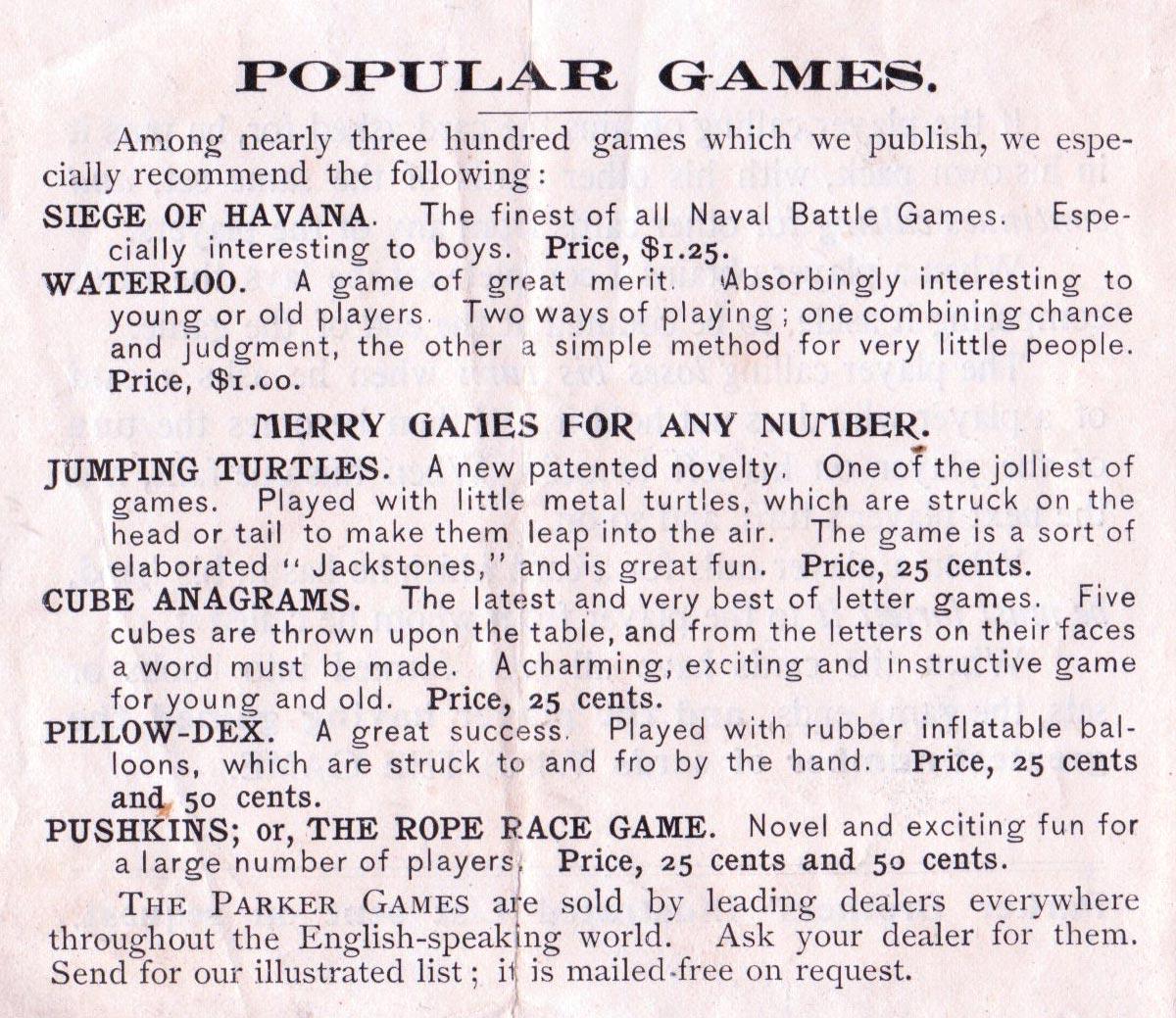 Games list, c.1900