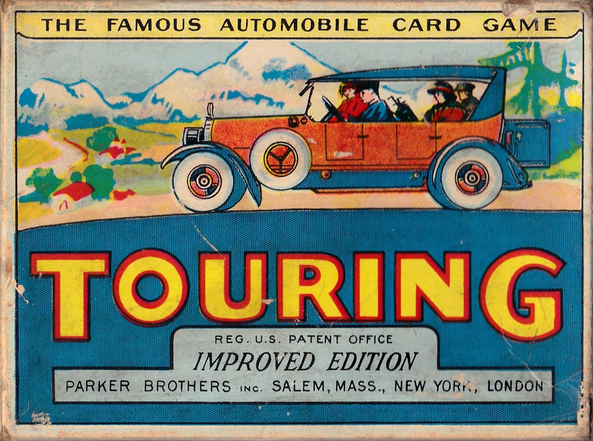 """Touring"", the Great Automobile Card Game, © 1926 Parker Brothers, Salem, Massachusetts"