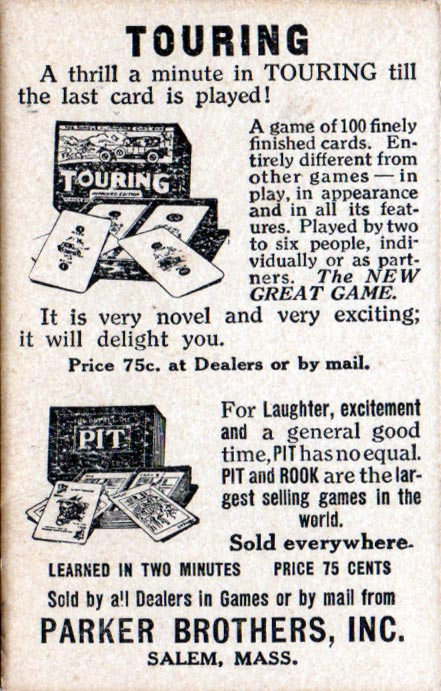 Parker Bros advert, c.1926