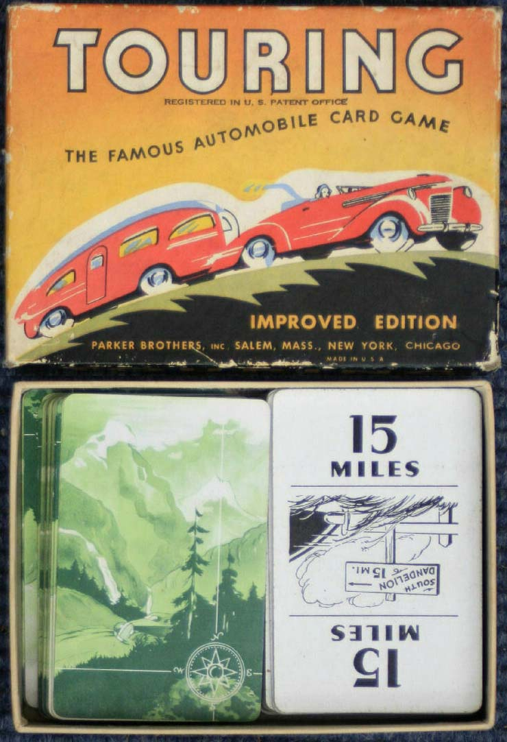 """The Great Automobile Card Game """"Touring"""", © Parker Brothers, Salem, Massachusetts"""