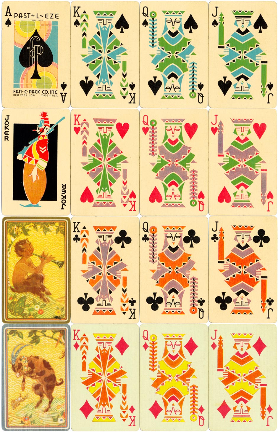 'Past-l-Eze' playing cards published by Fan-C-Pack Co., Inc, New York, c.1935