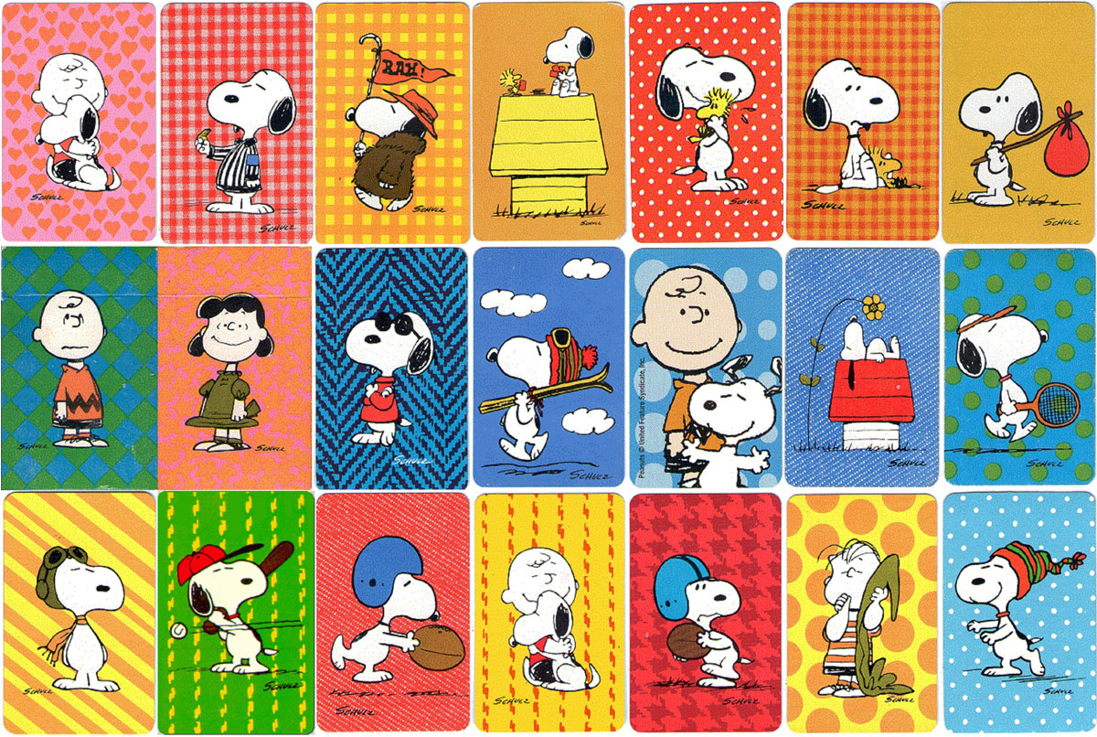 assorted back design of Hallmark Peanuts mini-decks, © United Feature Syndicate, Inc