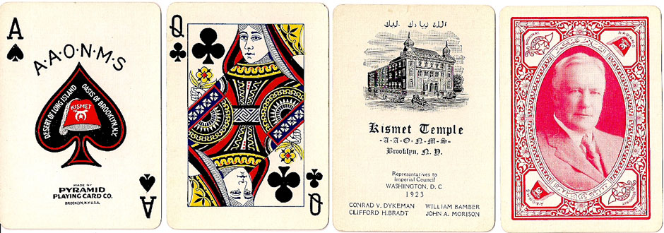 special pack made for the Kismet Temple by the Pyramid P.C.Co., 1923