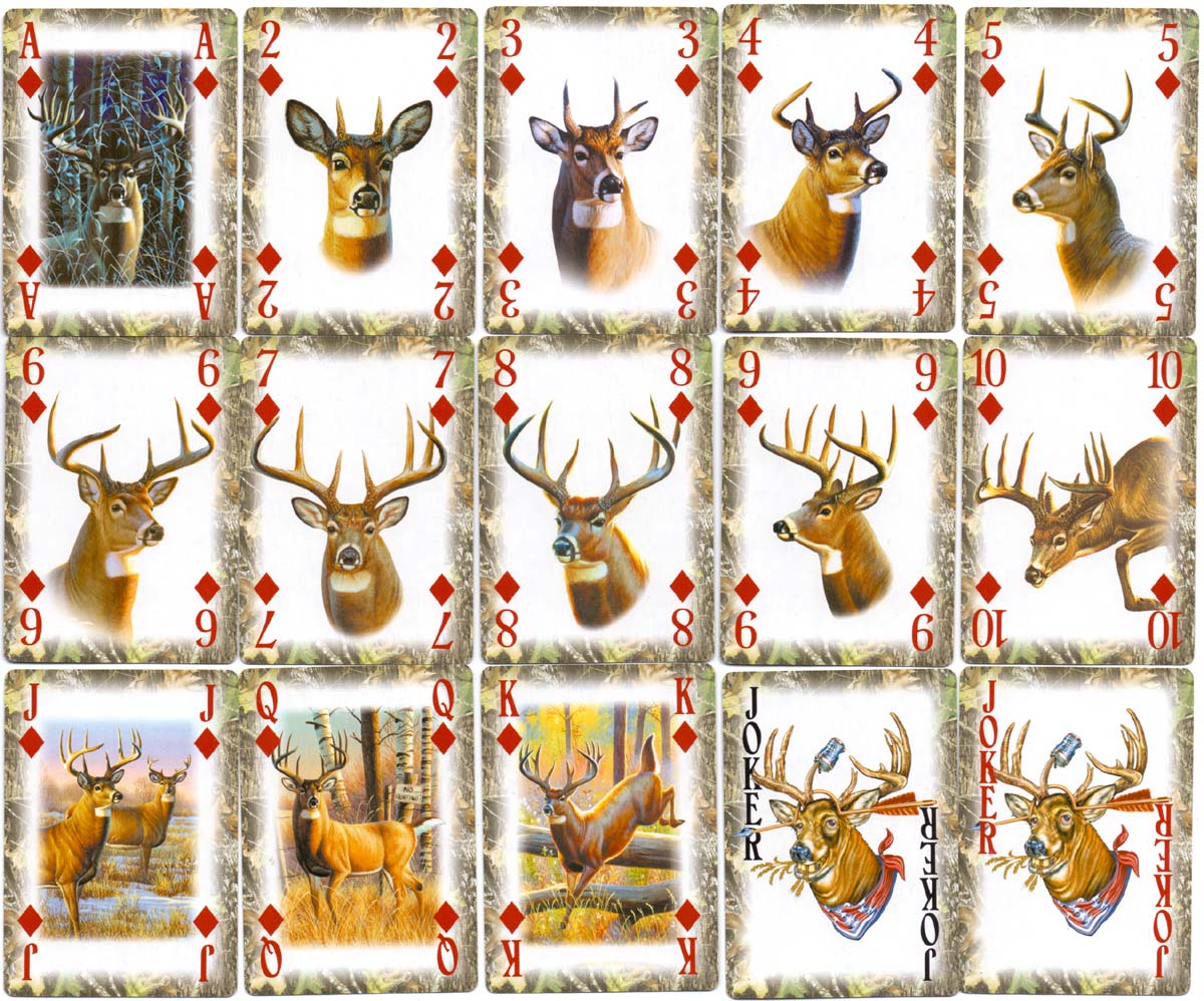 """Whitetail Deer Camouflage"" playing cards with deer artwork by Cynthie Fisher, published by Rivers Edge Products, USA"