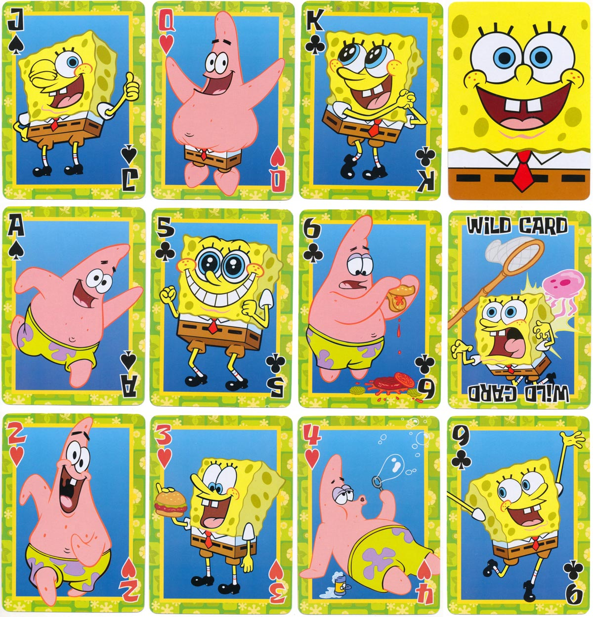 SpongeBob SquarePants cartoon playing cards featuring SpongeBob and Patrick the star fish