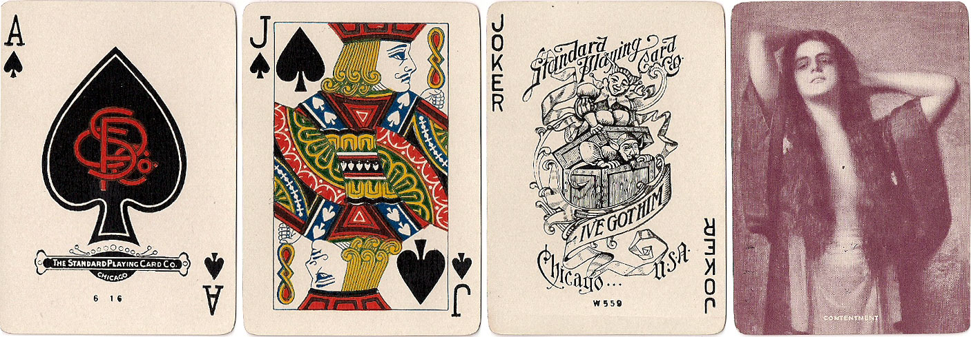 Society #1000 playing cards with back titled 'Contentment', c.1918