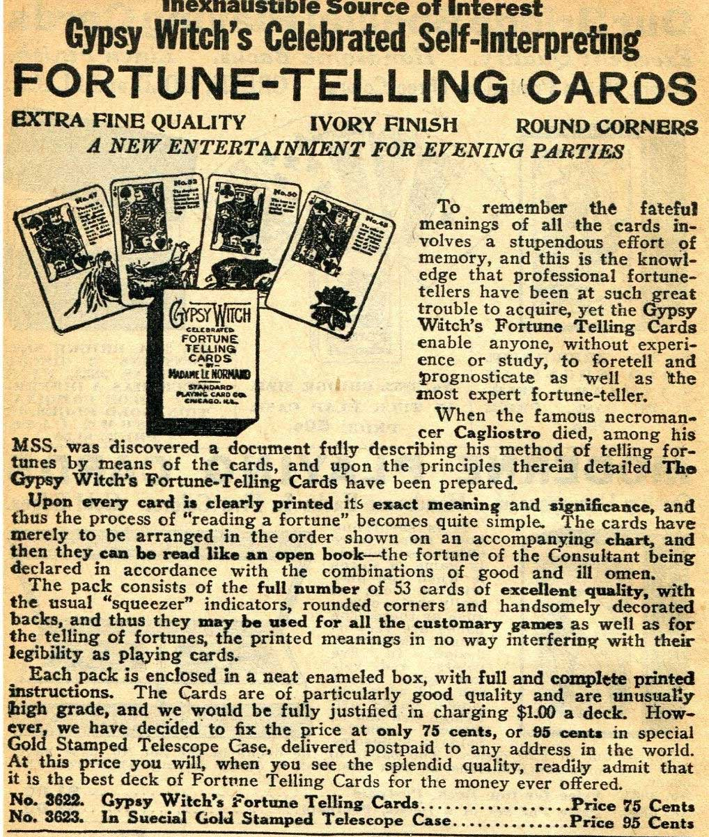 1929 advert for Gypsy Witch Fortune Telling Cards