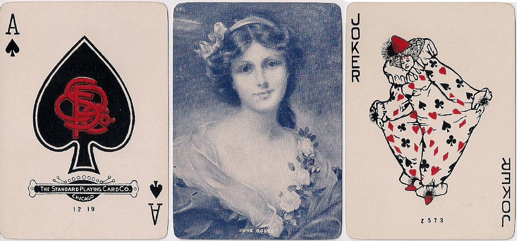 "Society Series playing cards by Standard Playing Card Co., Chicago, with the ""Baggy Clown"" Joker as formerly used by the American Bank Note Company, c.1919"