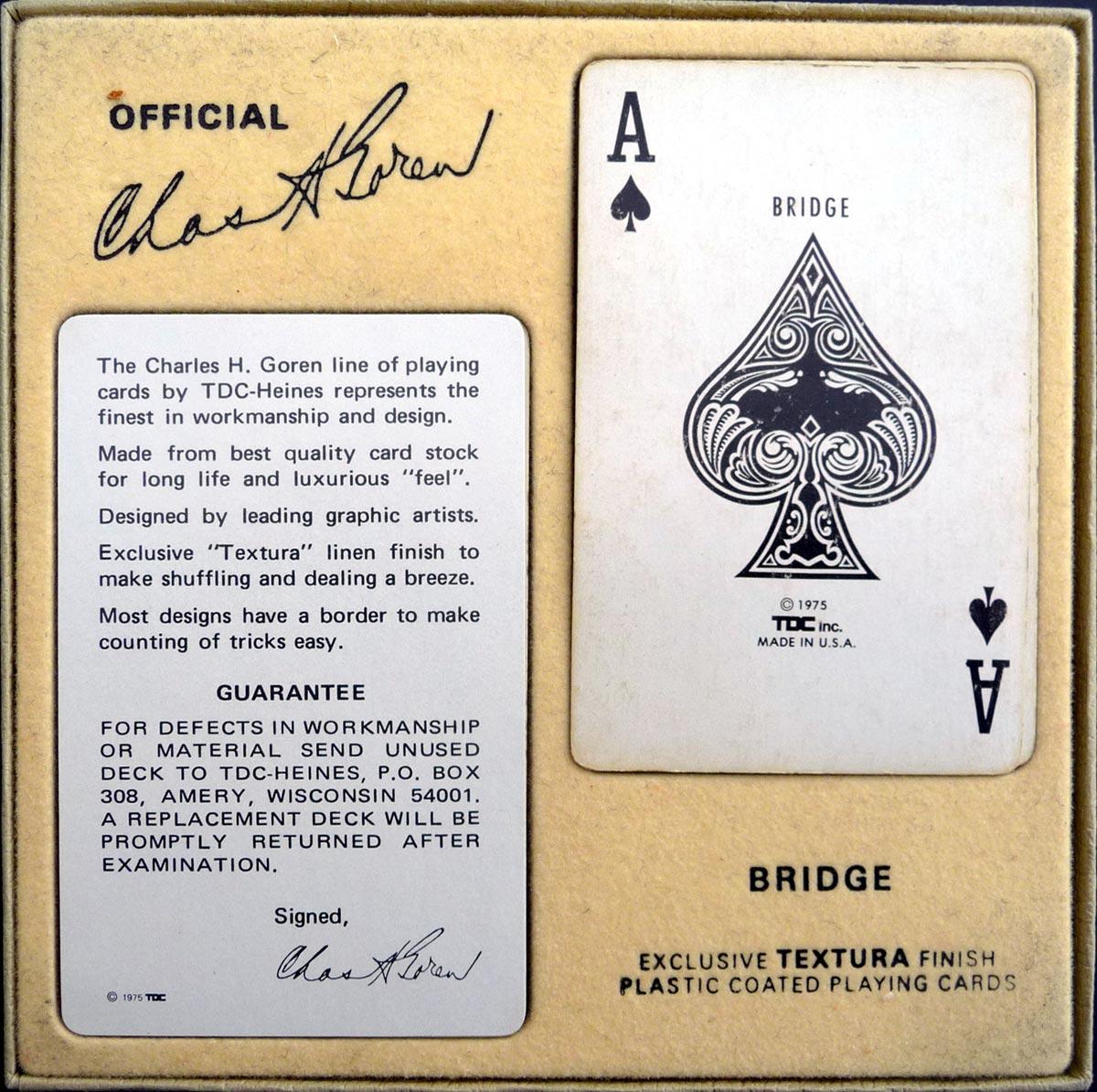 TDC Goren Bridge Cards from the Charles Goren line, 1975