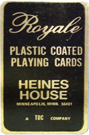 Heines House box label from a ROYALE pack made by USPCC c. 1970
