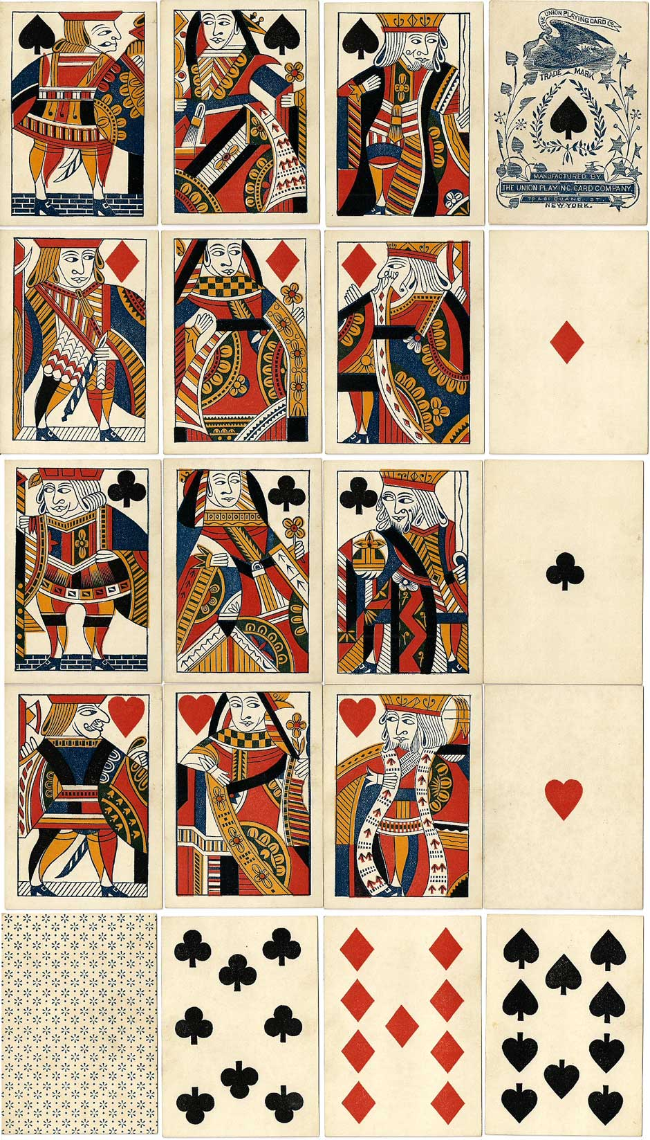 playing cards produced by the Union Playing Card Co., New York, c.1875