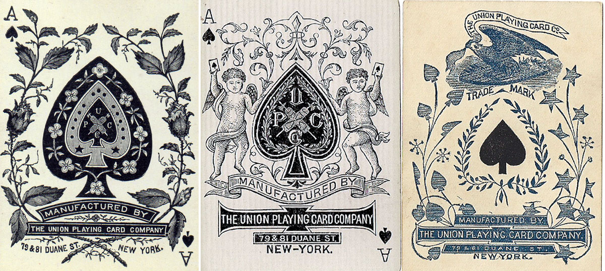 three different aces of spades produced by the Union Playing Card Co. c.1875-1895