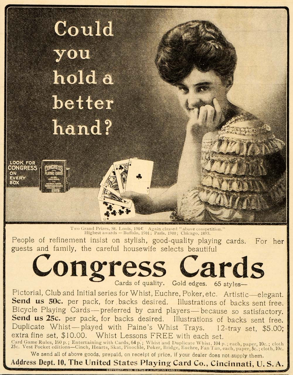 Playing Card Company Rookwood Indian Fashionable Patterns 1901 Antique Ad Congress U.s