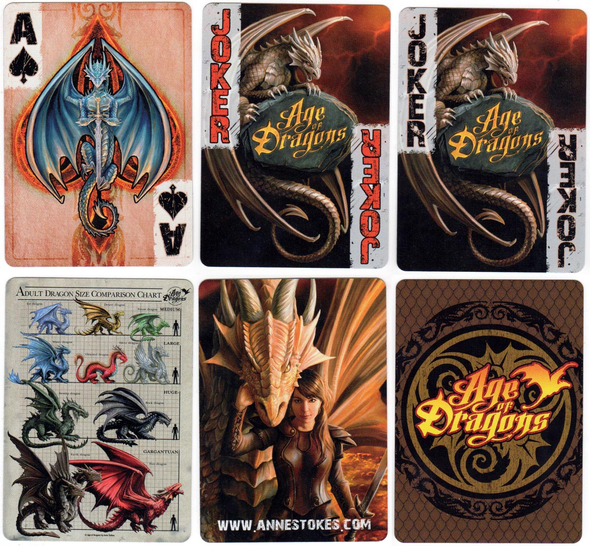 """Age of Dragons"" fantasy playing cards with artwork by Anne Stokes, 2017"