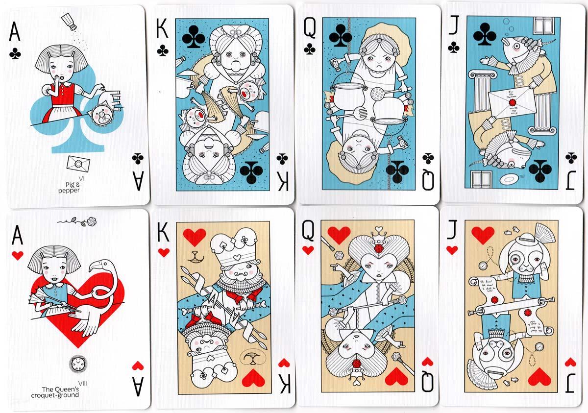 Alice in Wonderland playing cards designed by Sasha Dounaevski, 2018