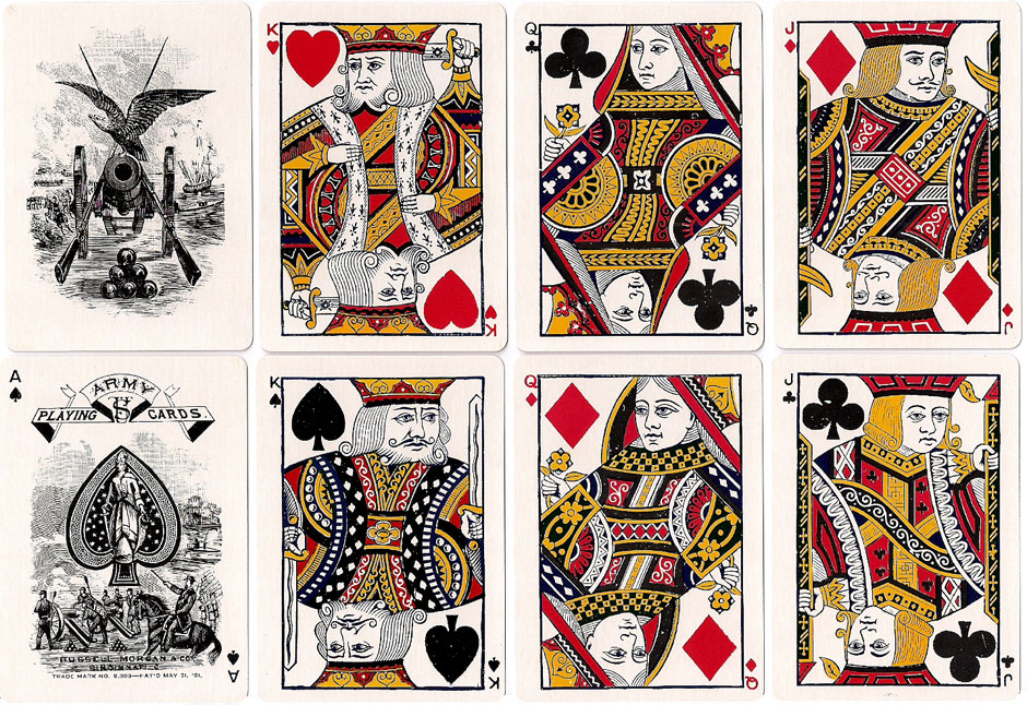 'Army #303' playing cards published by Russell, Morgan Co., c.1881
