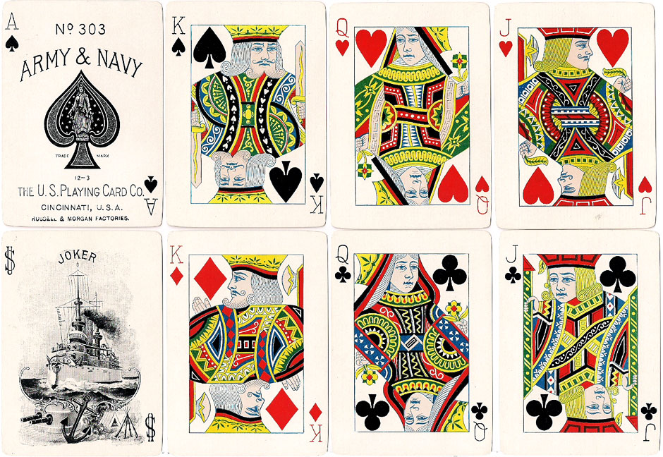 """Army & Navy #303"" playing cards published by the United States Playing Card Co., Cincinnati, in c.1900"