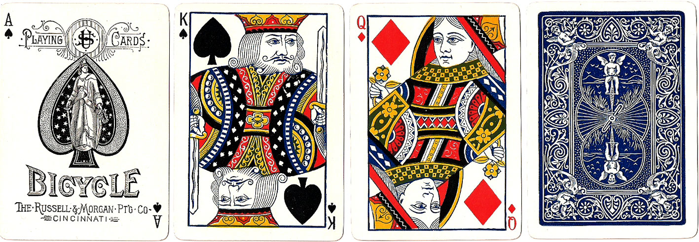 Bicycle No.808 playing cards, Russell & Morgan Printing Co., c.1885-90