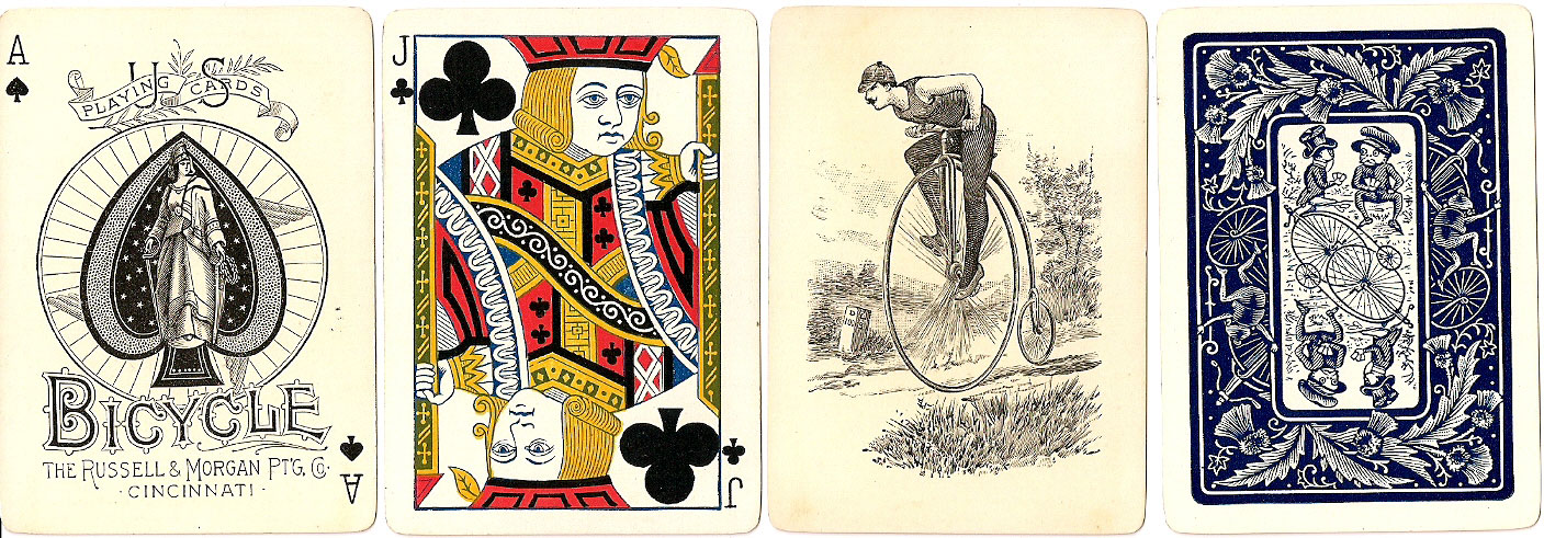 Bicycle No.808 playing cards, Russell & Morgan Printing Co., c.1889