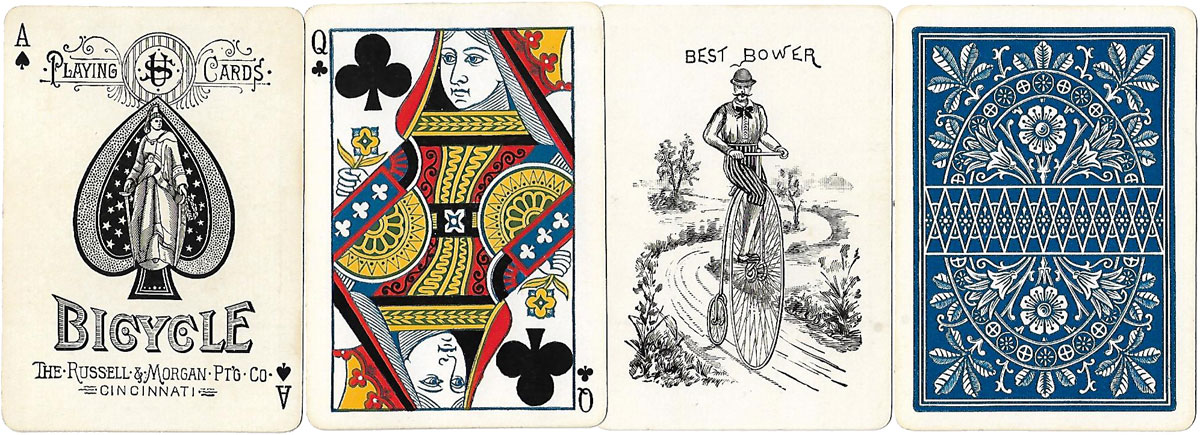 Bicycle No.808 playing cards, Russell & Morgan Printing Co., c.1885